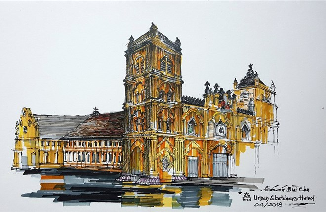 Nhà thờ Bùi Chu qua ký họa