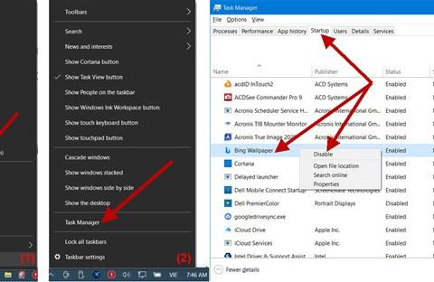 Quản lý app startup trong Windows 10