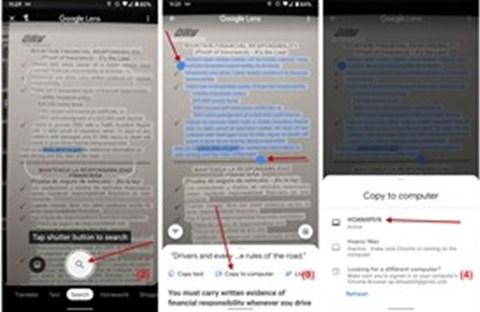 Dùng Google Lens của điện thoại để chuyển văn bản trên giấy sang máy tính