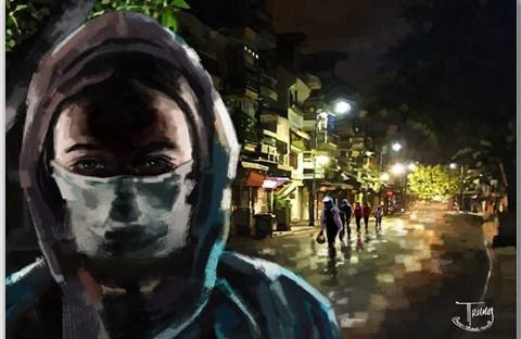 Tranh của họa sĩ Nguyễn Thành Trung về Sài Gòn âu lo nhưng ấm tình người