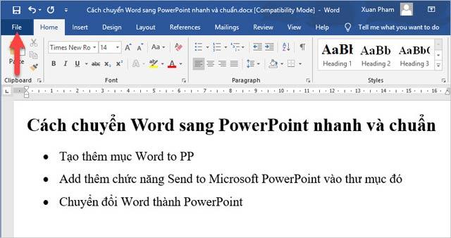 Hướng dẫn chuyển nội dung Word sang PowerPoint tự động - 1