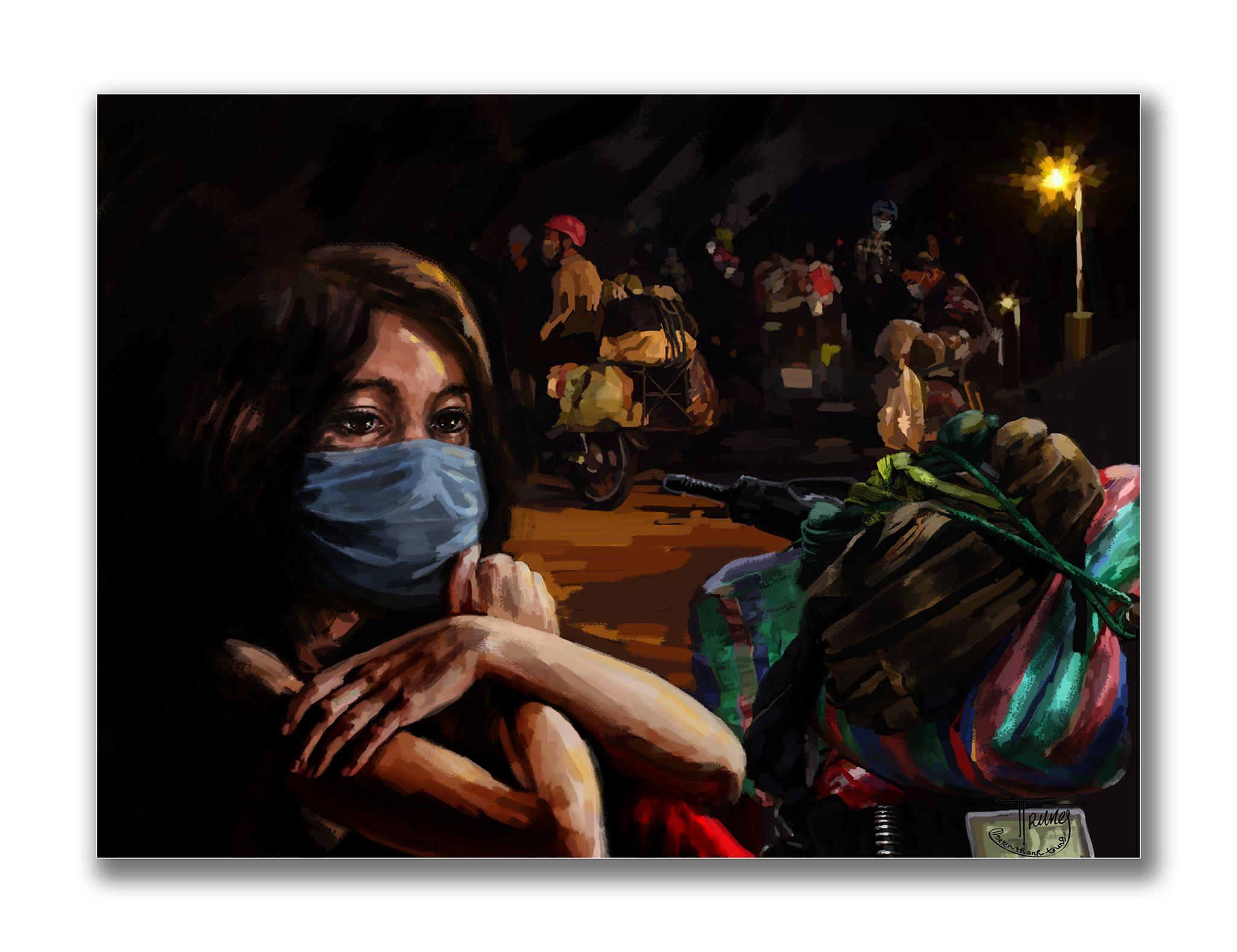 Tranh của họa sĩ Nguyễn Thành Trung về Sài Gòn âu lo nhưng ấm tình người - 9