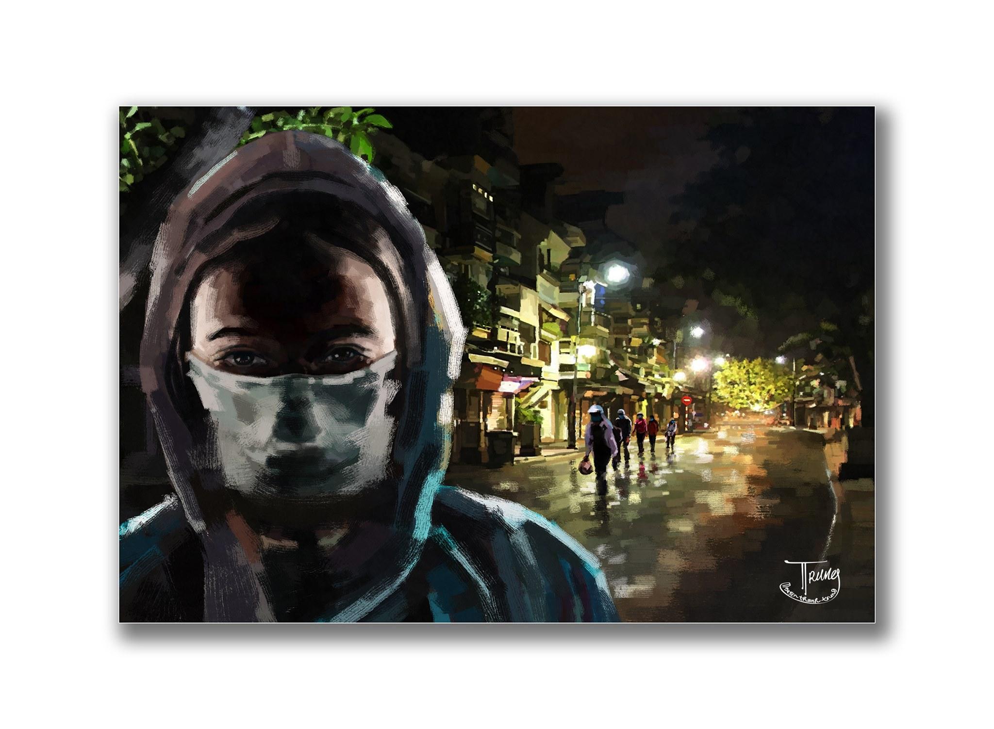 Tranh của họa sĩ Nguyễn Thành Trung về Sài Gòn âu lo nhưng ấm tình người - 10